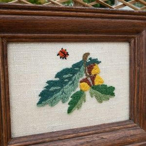 VTG Modern Boho Acorn Ladybug 70s Needle Point